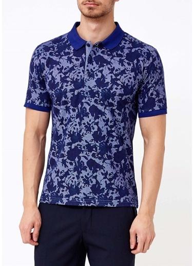 Adze Çiçekli Polo Yaka Tişört Mor